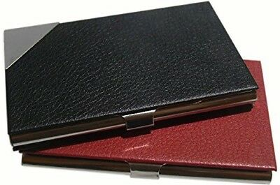 Red Black 2 Pack Pu Leather Business Card Credit Card Id Holder Organizer