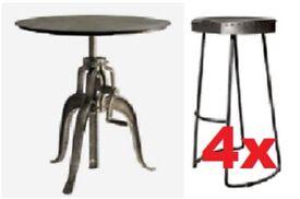 Andrew Martin-Wandle Industrial Bar/Side Table & 4 Zinc/metal Stools
