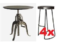 Andrew Martin-Wandle Industrial Bar/Side Table & 4 Zinc/metal Stools