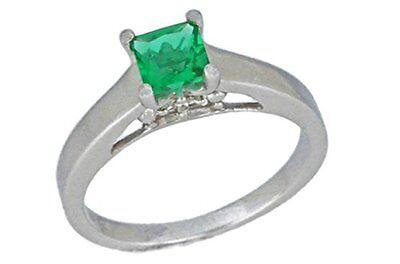 0.50 Ct Emerald & Diamond Princess Cut Ring .925 Sterling Silver