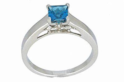 0.50 Ct London Blue Topaz & Diamond Princess Cut Ring .925 Sterling Silver (London Blue Topaz)