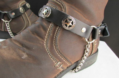 New Men Cowboy Star Pair Boot Chain Silver Black Leather Str