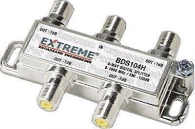 4 Way Balanced Splitter (Extreme 4 Way Balanced HD Digital 1GHz high performance coax cable Splitter)