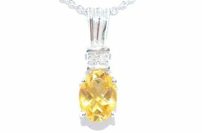 1 Ct Citrine 7x5mm Oval & Diamond Pendant .925 Sterling Silver