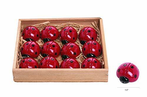 """TII Set of 12 Resin Mini Ladybugs 1.5"""" Long, Lucky Red Ladybug Garden Figurines"""