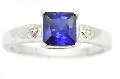 1 Ct Blue Sapphire & Diamond Princess Cut Ring .925 Sterling Silver (Blue Blue Sapphire Diamond)