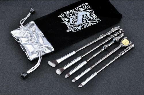 NEW 5pc BLACK METAL Harry Potter Wizard Wand Vanity Makeup Brush Set – US SELLER Brushes