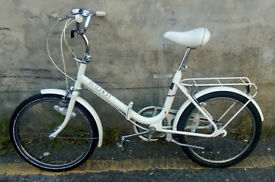 Original Unisex White Raleigh Compact Vintage Fold-Up Bike In Very Good Condition