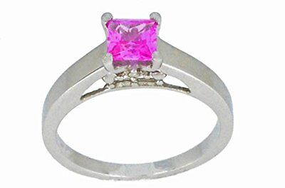(0.50 Ct Pink Sapphire & Diamond Princess Cut Ring .925 Sterling Silver )