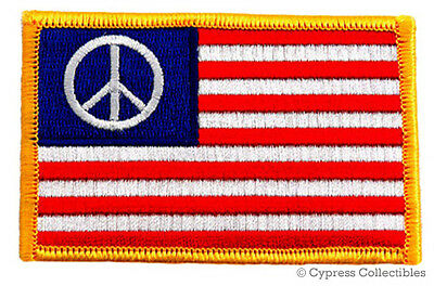AMERICAN FLAG iron-on PATCH PEACE SIGN ANTI-WAR PROTEST embroidered 1960s EMBLEM