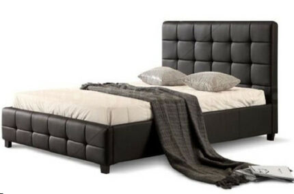 Button Tufted Headboard PU Leather Bed Frame from $269.95 D/Q/K