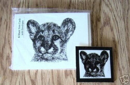 Cougar Cub 2 Pc Set- 6 Blank Notecards, 6 Linen Envelopes and Magnet