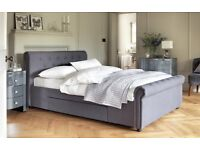 Brand New Kingsize Fabric Bed Frame with Memory Foam Mattress