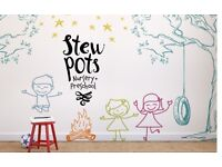 Stew Pots Tots need a full or part time Nursery Nurse
