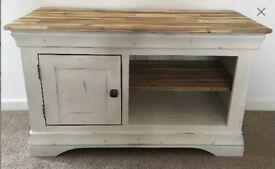 Solid hardwood oak tv cabinet storage unit television stand media storage shabby chic country cream