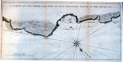 Antique map, A survey of the north east side of Juan Fernandes