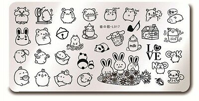 Bunny Rabbit Template ( Nail Art Stamping Cute Bunny Rabbit Design Manicure Template Image Plate)