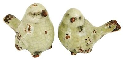 "Set of 2 Small Rustic Ceramic Green Birds 2.75"" Long x 2"" High"