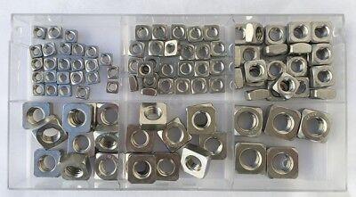 Sortiment Vierkantmuttern DIN 557 M5 M6 M8 M10 M12 Edelstahl V2A  100 Teile