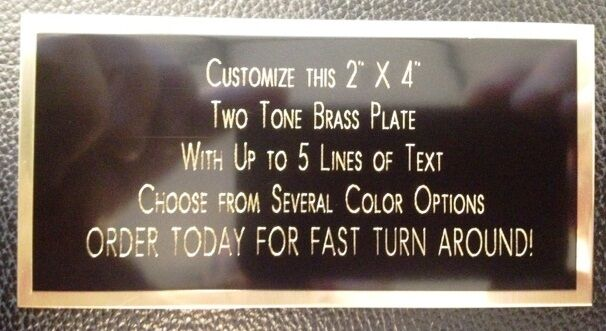 """Engraved Plate 2""""x4"""" BRASS TWO TONE Custom Name Plate Tag Plaque Art Label Gift"""