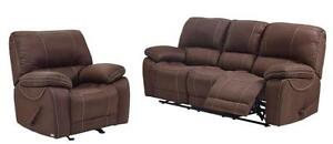 2PC RECLINING SOFA WITH DROP DOWN CUP HOLDERS AND GLIDER RECLINING CHAIR