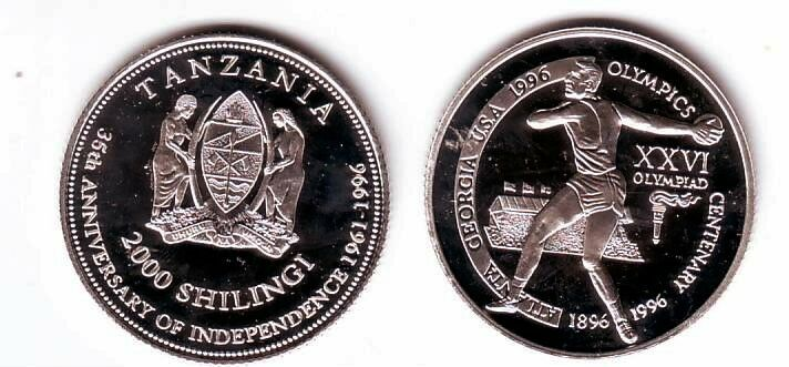 Ex.Rare 1996 Tanzania Silver 2000 s Piedfort(Double thickness) Olympic Discus T1