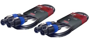 2 x Stagg Black Speaker Speakon Lead Cable 2m PA System Sound