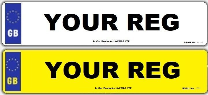 Rear Standard UK Border MOT UK Road Legal Car Van Reg Registration Number Plate