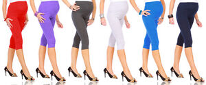 NEW-Cropped-Very-Comfortable-Maternity-Cotton-Leggings-3-4-Length-PREGNANCY-HQ