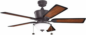 "52"" Distressed Black Outdoor Fan"
