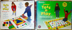 2 BEANBAG games - TOSS n PLAY ALPHABET and COLOURS & SHAPES