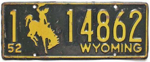 Wyoming 1952 License Plate, 1-14862, Cowboy, Bucking Horse, Original Paint