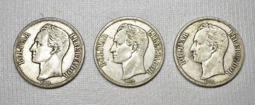 1929 Silver Coin Triad (3 COINS) Venezuela 5 Bolivares Fuerte (P1)