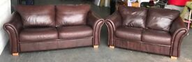 Brown Leather 3&2 Seater Sofa .CAN DELIVER