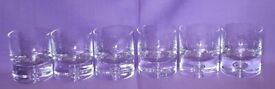 6 Water or Whiskey Tumbler Glasses, Beautiful Bubble Base Design (M&S)