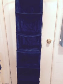 Blue Hanging Wardrobe Cupboard Clothes Shoes Organiser
