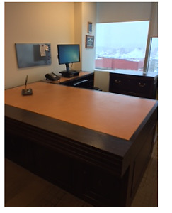 Executive Desk, side credenza and two drawer file cabinet