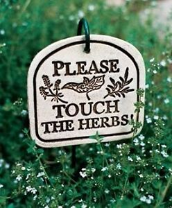 ** PLEASE TOUCH THE HERBS! ** PLAQUE with Hanger Wa