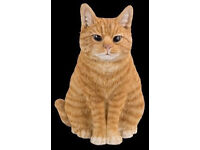 Real Life Sitting Ginger Cat 30cm Resin Ornament By Vivid Arts