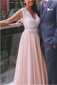 Prom dress white and rose / blush champagne  size 4