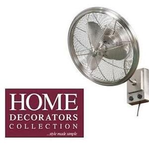 "NEW HDC BENTLEY II WALL FAN HOME DECORATORS COLLECTION 18"" OSCILLATING BRUSHED NICKEL WALL FAN 104681200"