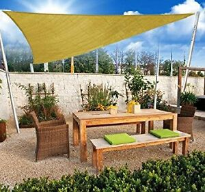Triangle 10' Sun Shade Sail Canopy Shelter-Sand Color