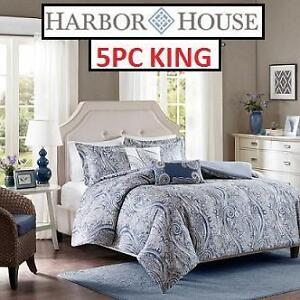 NEW 5PC KING DUVET COVER SET - 129197483 - BEDDING HARBOR HOUSE STELLA BLUE