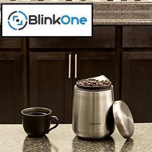 NEW BLINKONE 18OZ COFFEE CANISTER - 103730347 - CONTAINER AIRTIGHT BEAN STORAGE WITH MAGNETIC SCOOP - STAINLESS STEEL