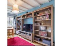 Hemnes units - Bookcase x2 - Bridging shelf - TV bench w/2 drawers. Plus overhead light units x3