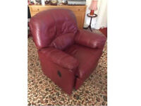 G plan burgundy leather recliner and armchair