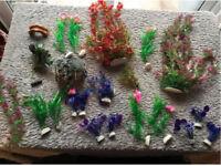 Bundle of aquarium plastic plants for fish tank