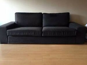 Couch, almost new - IKEA KIVIK 3 seater sofa in black Erskineville Inner Sydney Preview