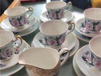 Beautiful 6 x setting Fine English Pink Rose Bone China Afternoon Tea set 22ct Gold