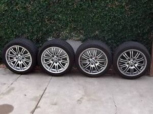 4 x 17 inch BMW M3 wheels with 60-70% tread on tyres Campbelltown Campbelltown Area Preview